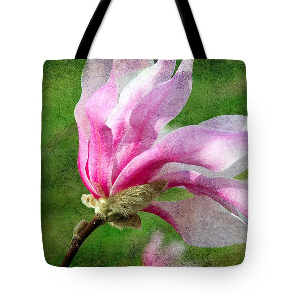 Magnolia Tote Bag featuring the photograph The Windblown Pink Magnolia - Flora - Tree - Spring - Garden by Andee Design