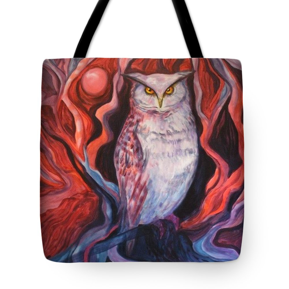 Owls Tote Bag featuring the painting The Wise One by Carolyn LeGrand