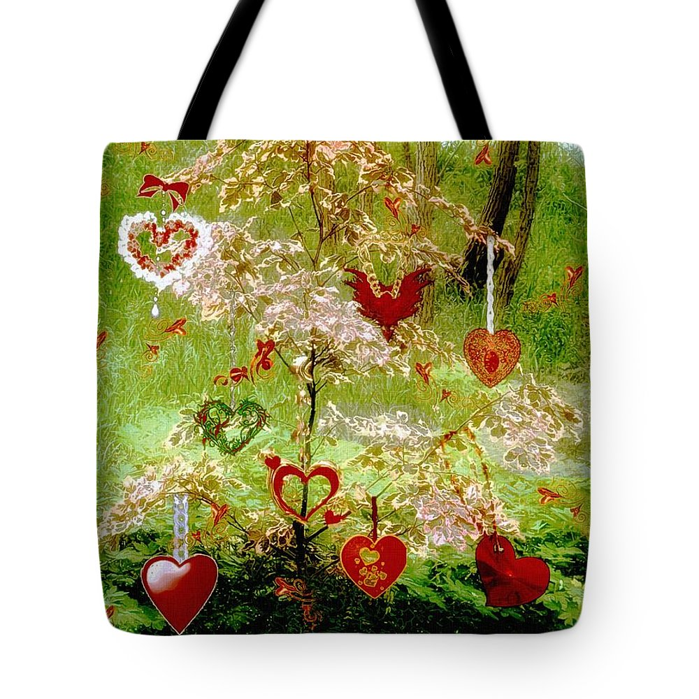 Romance Tote Bag featuring the painting The Wishing Tree by RC DeWinter
