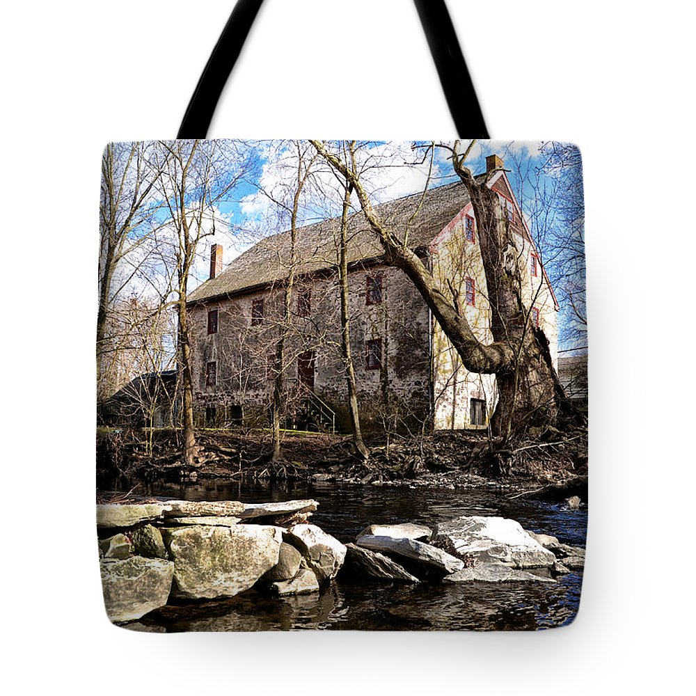 Wissahickon Tote Bag featuring the photograph The Wissahickon Creek And Mather Mill by Bill Cannon