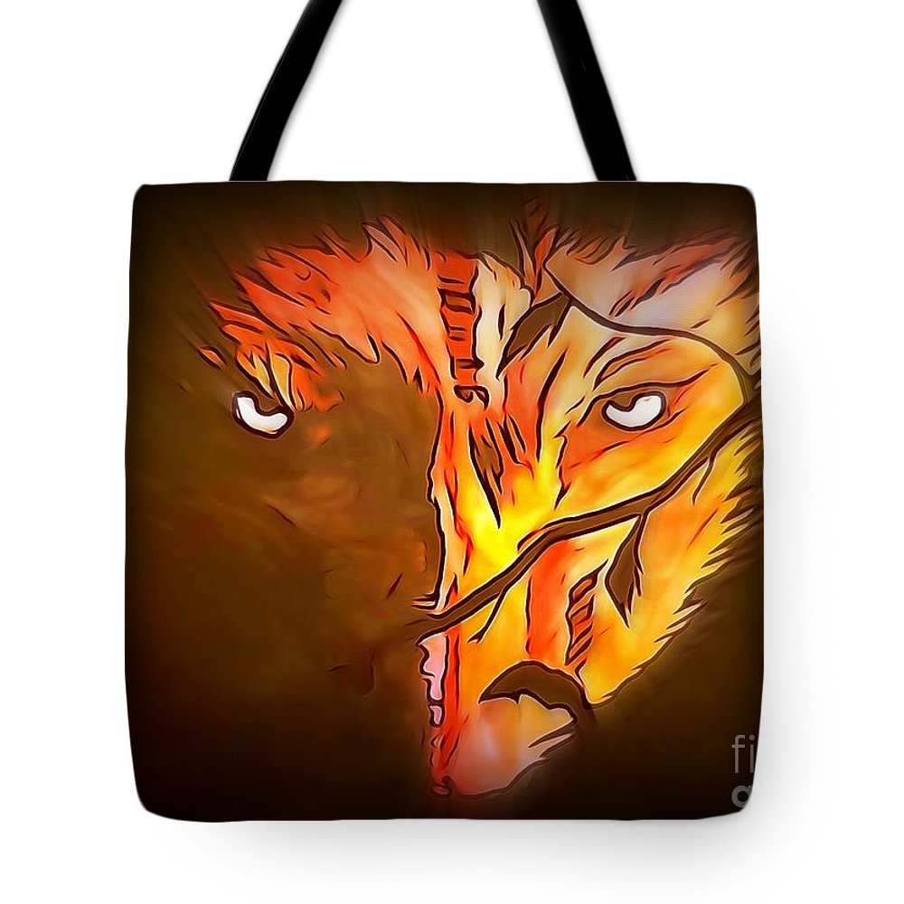 Justin Moore Tote Bag featuring the painting The Wolf Is Watching by Justin Moore