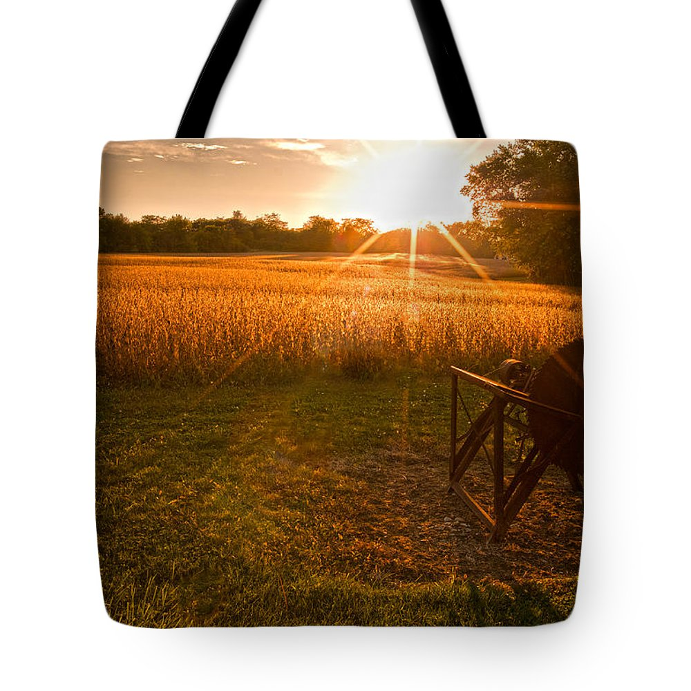 Farms Tote Bag featuring the photograph The Wood Cutter Buzz Saw by Randall Branham