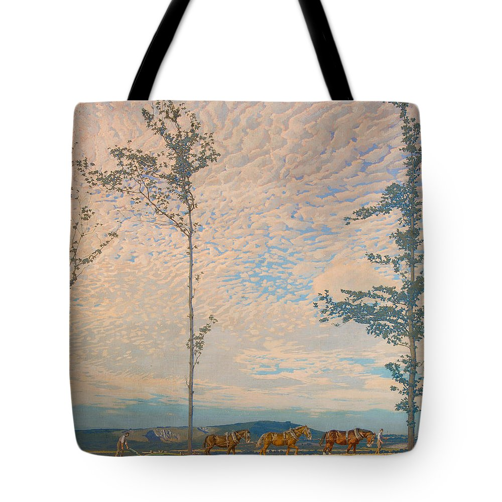 Landscape Tote Bag featuring the painting The Wooden Plough by Edward Louis Lawrenson