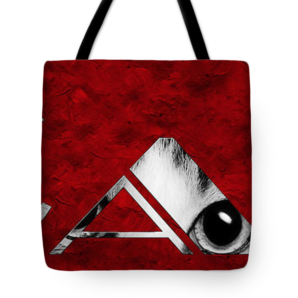 Andee Design Cat Tote Bag featuring the photograph The Word Is Cat Bw On Red by Andee Design