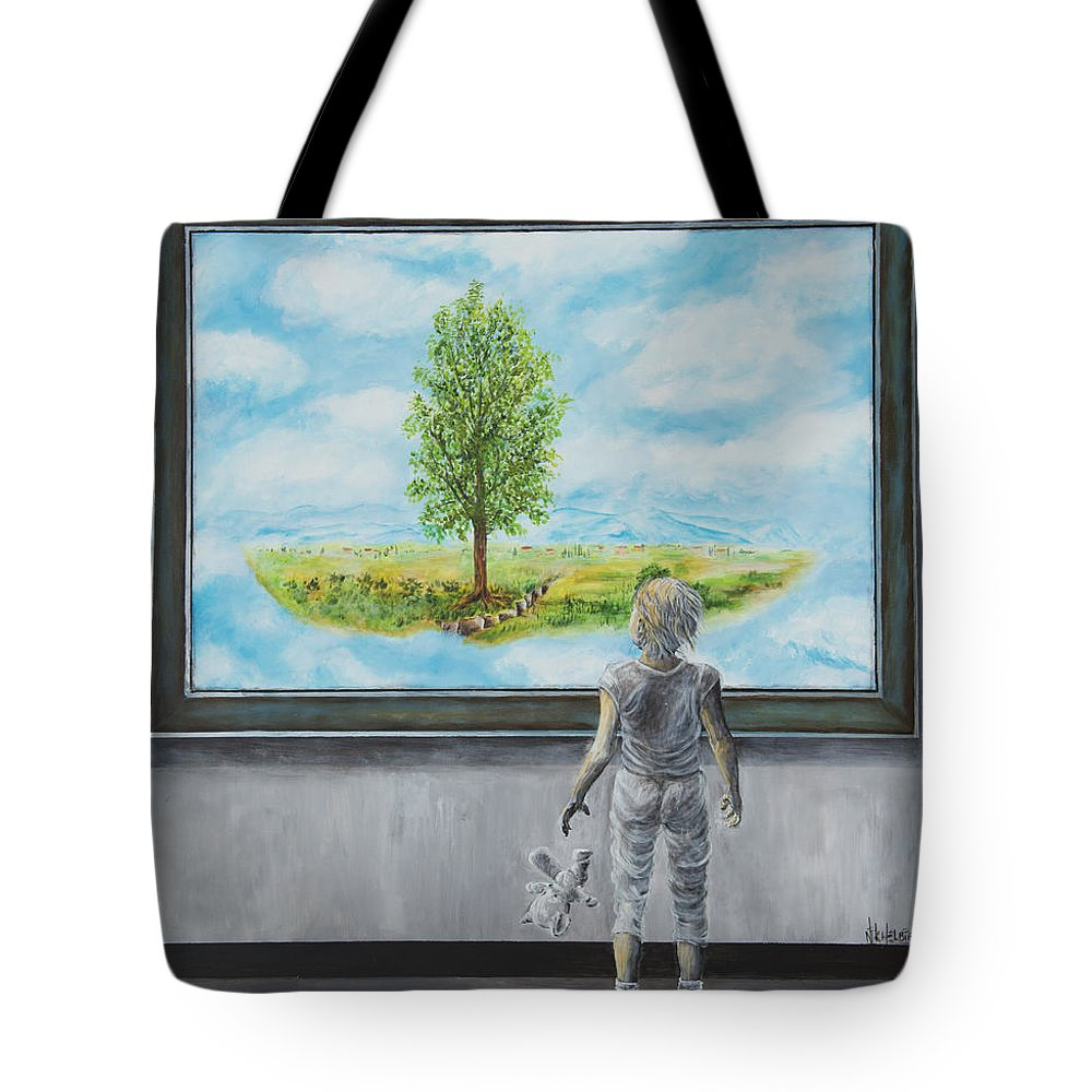 Painting Of Paintings Tote Bag featuring the painting The World You Thought You Lived In by Nik Helbig