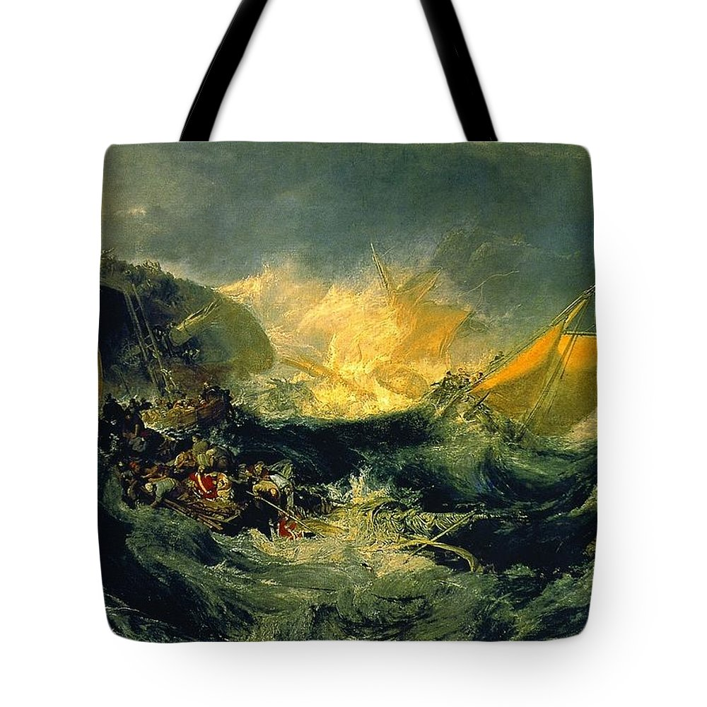 1810 Tote Bag featuring the painting The Wreck Of A Transport Ship by JMW Turner