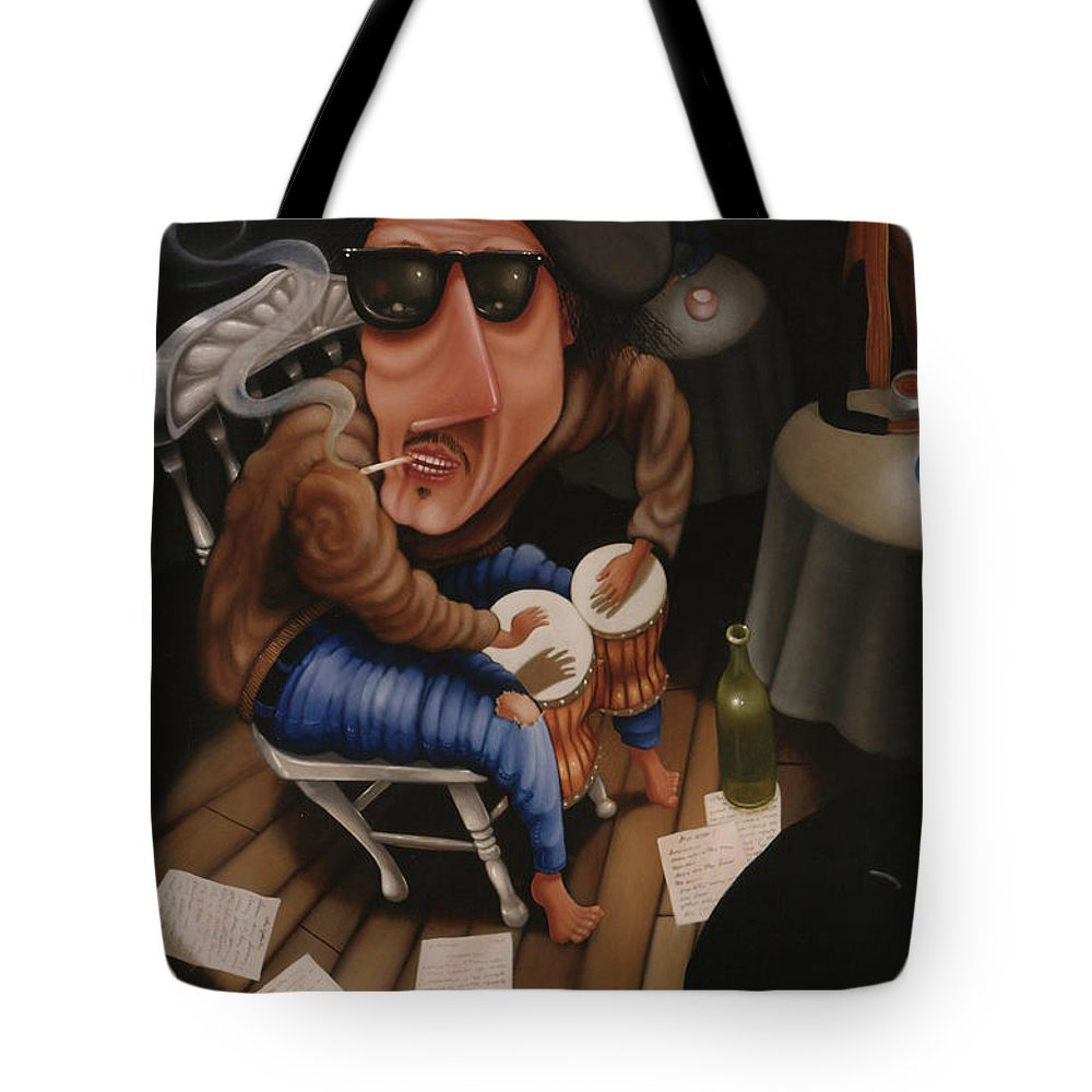 Bongo Tote Bag featuring the painting The Y-not Coffee House 1999 by Lawrence Preston