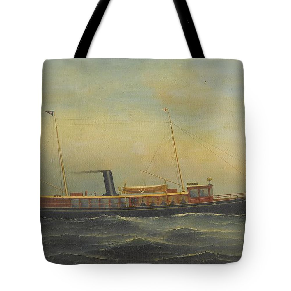 Antonio Jacobsen Tote Bag featuring the painting The Yacht Aztec by Celestial Images