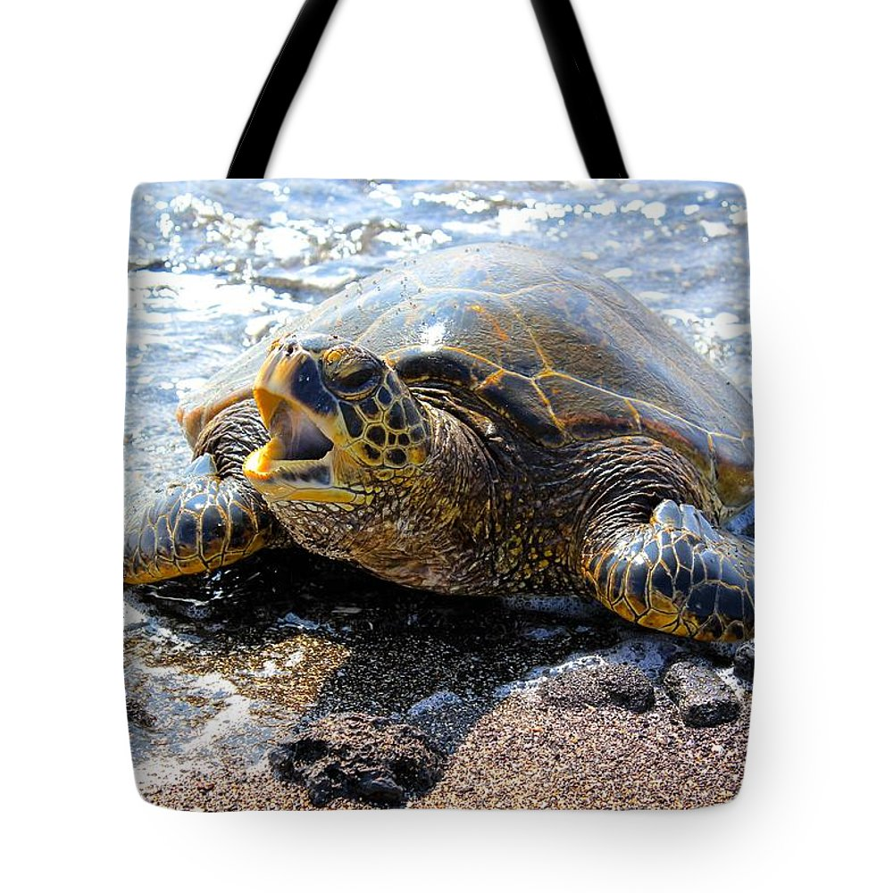 Turtle Tote Bag featuring the photograph The Yawn by Kimberly Reeves