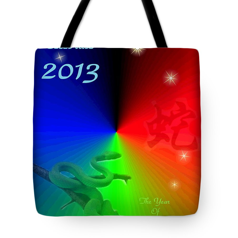 2013 Tote Bag featuring the photograph The Year Of The Snake by Joyce Dickens