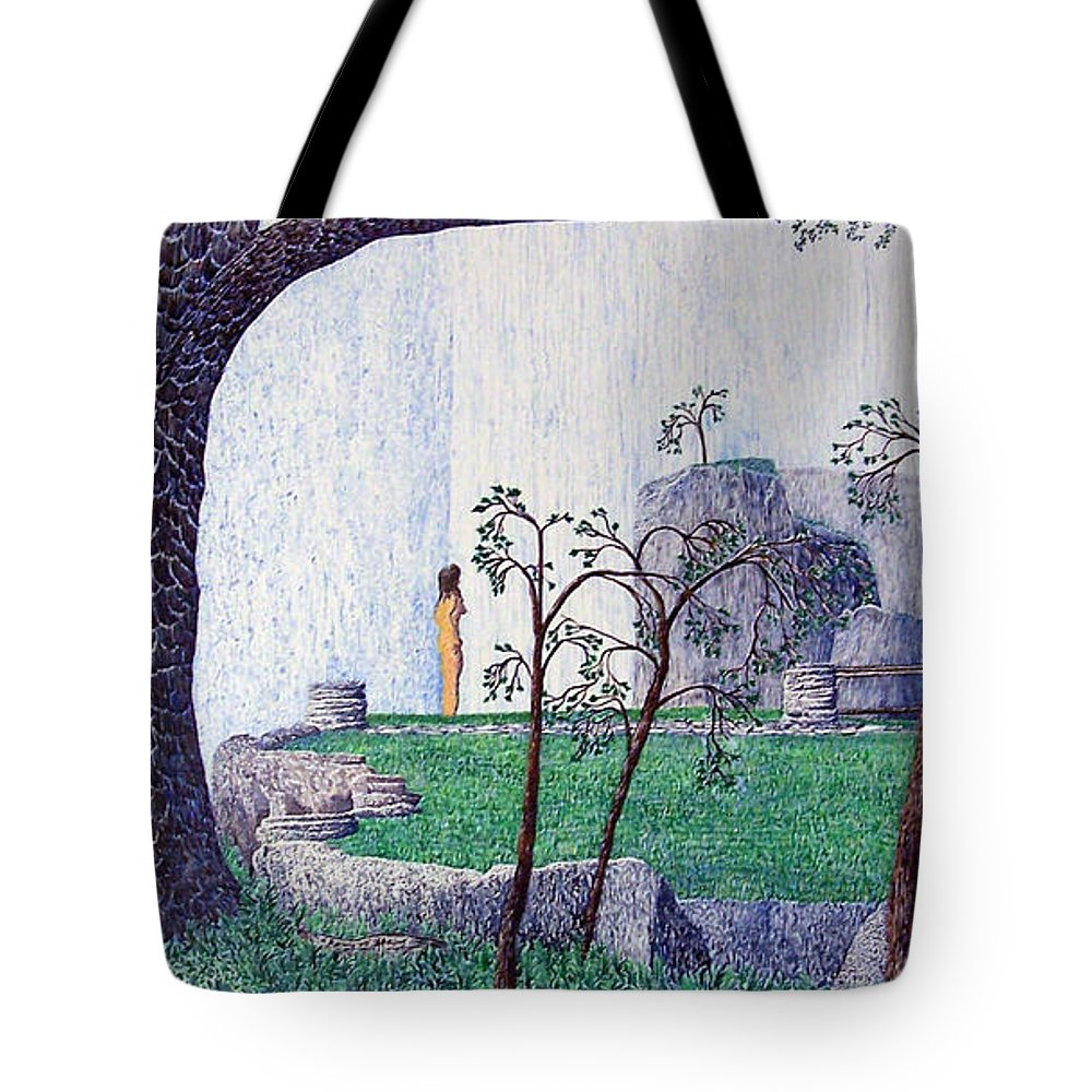 Landscape Tote Bag featuring the painting The Yearning Tree by A Robert Malcom