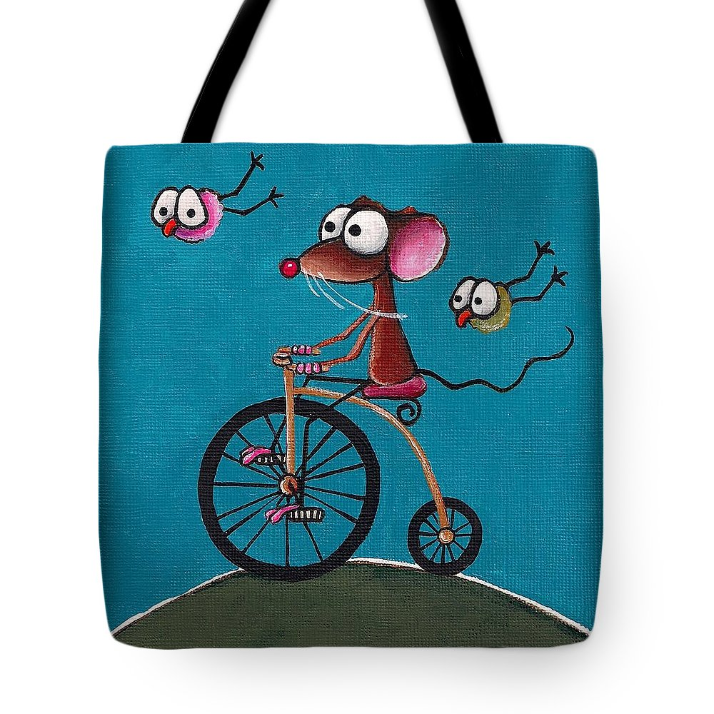 Whimsical Tote Bag featuring the painting The Yellow Bike by Lucia Stewart