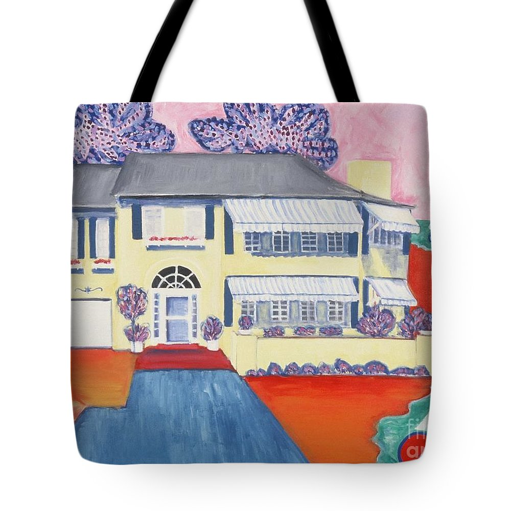Painting Tote Bag featuring the painting The Yellow House by Karen Francis
