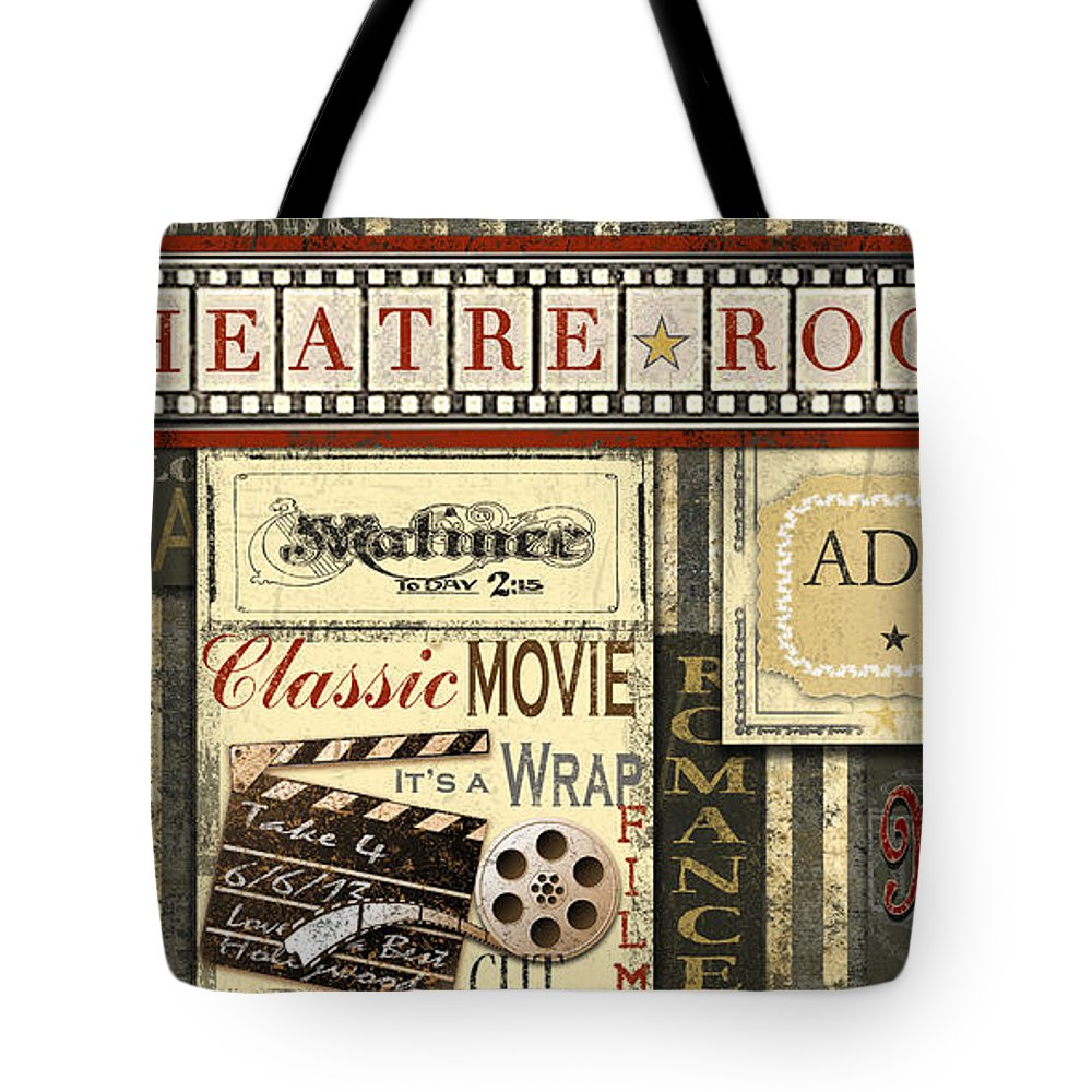 Digital Art Tote Bag featuring the digital art Theatre Room by Jean Plout