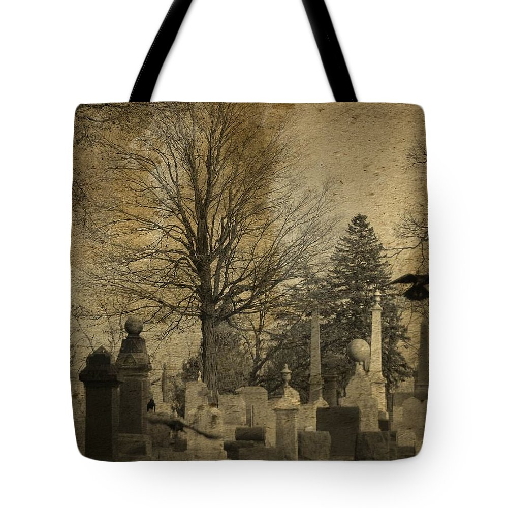 Aged Graveyard Art Tote Bag featuring the photograph Their Refuge by Gothicrow Images