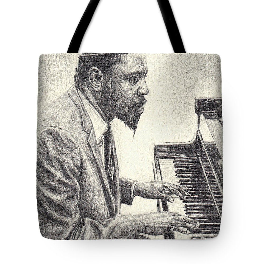 Thelonious Tote Bag featuring the drawing Thelonious Monk II by Michael Morgan