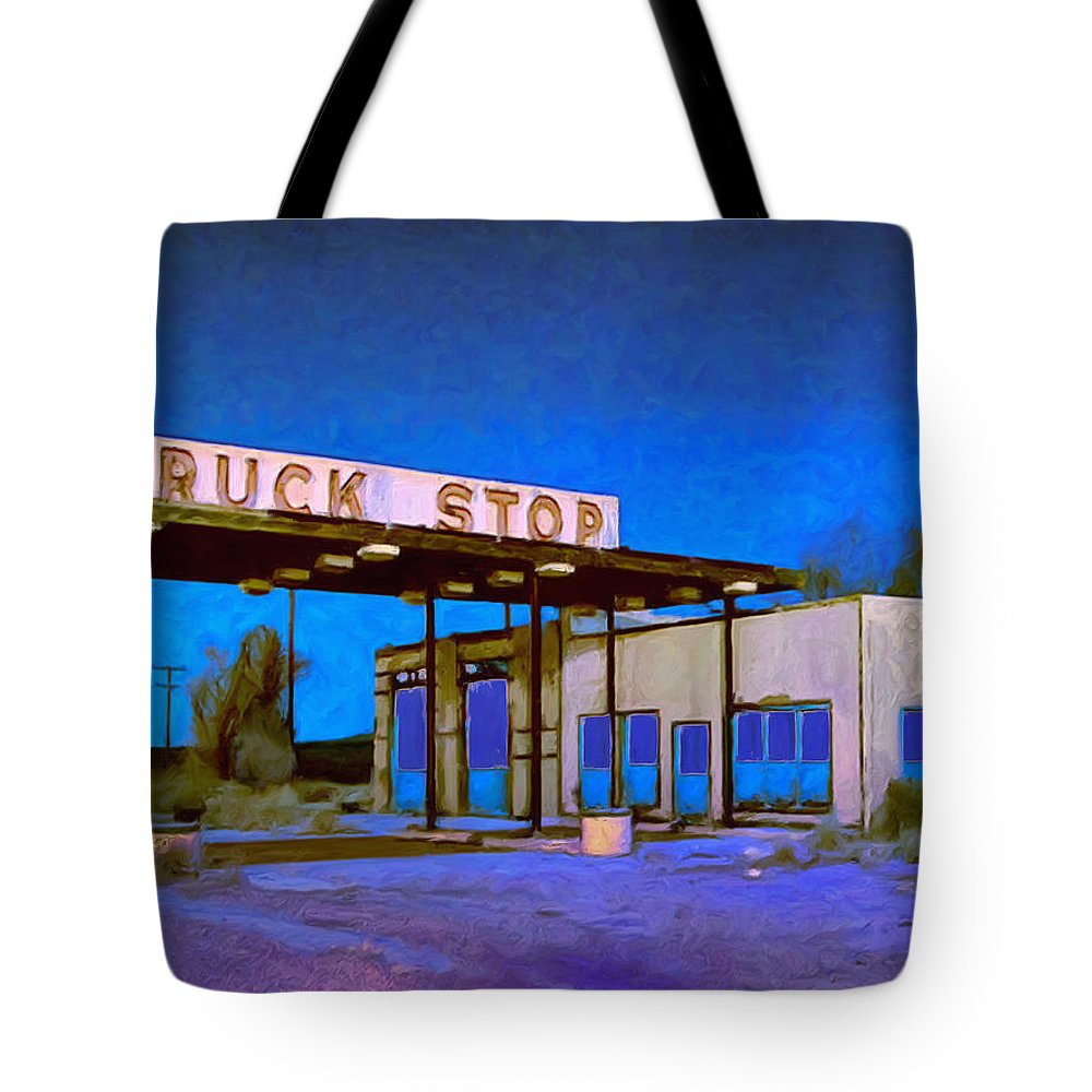 Truck Stop Tote Bag featuring the painting Then They Built The Interstate by Dominic Piperata