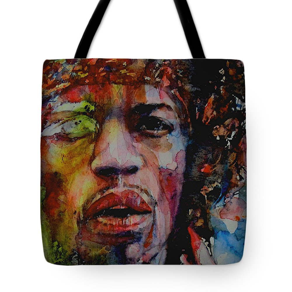 Hendrix Tote Bag featuring the painting There Must Be Some Kind Of Way Out Of Here by Paul Lovering