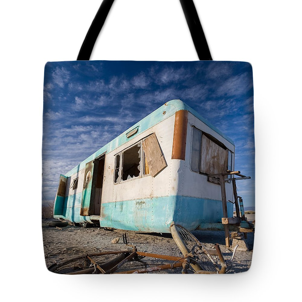 Salton Sea Tote Bag featuring the photograph Theres My Bike by Scott Campbell