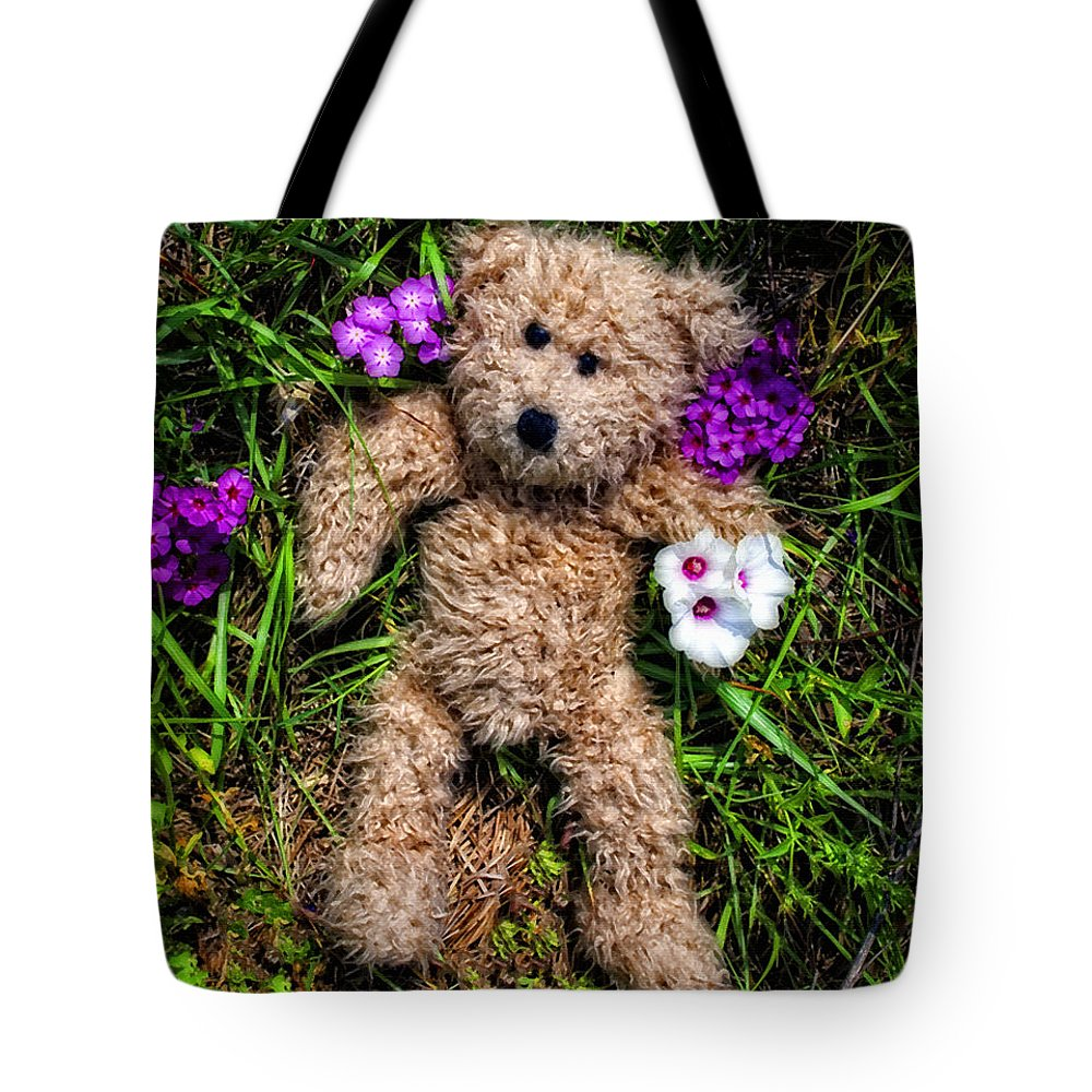 Teddy Bear Tote Bag featuring the painting These Are For You - Cute Teddy Bear Art By William Patrick And Sharon Cummings by Sharon Cummings