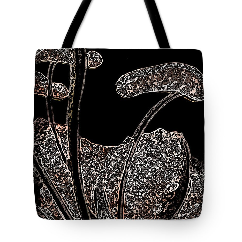 Abstract Tote Bag featuring the painting These Silly Little Mushrooms by Sherri's - Of Palm Springs