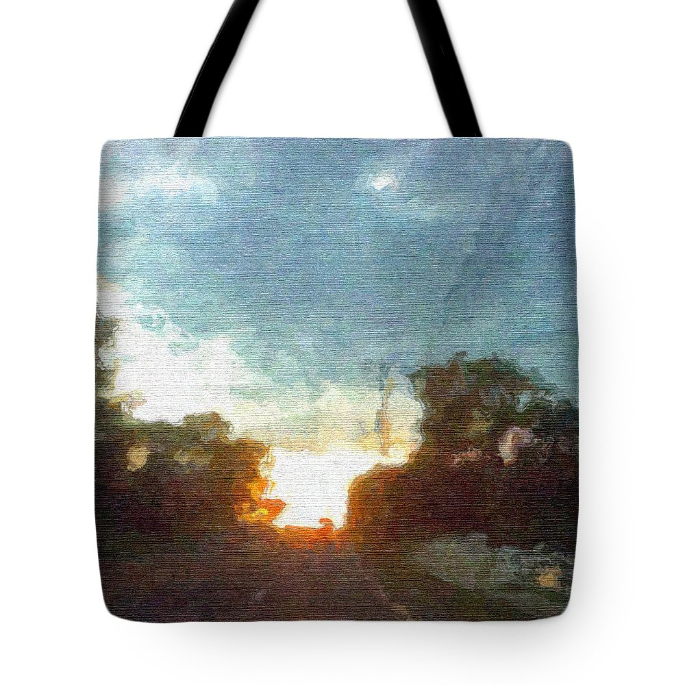 Abstract Sunset Tote Bag featuring the mixed media Third Sunset by Pharris Art