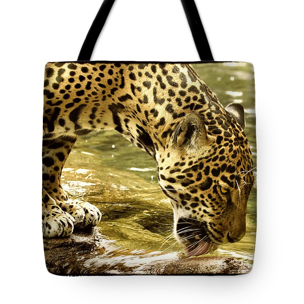 Jaguar Tote Bag featuring the photograph Thirst by Sharon Ely