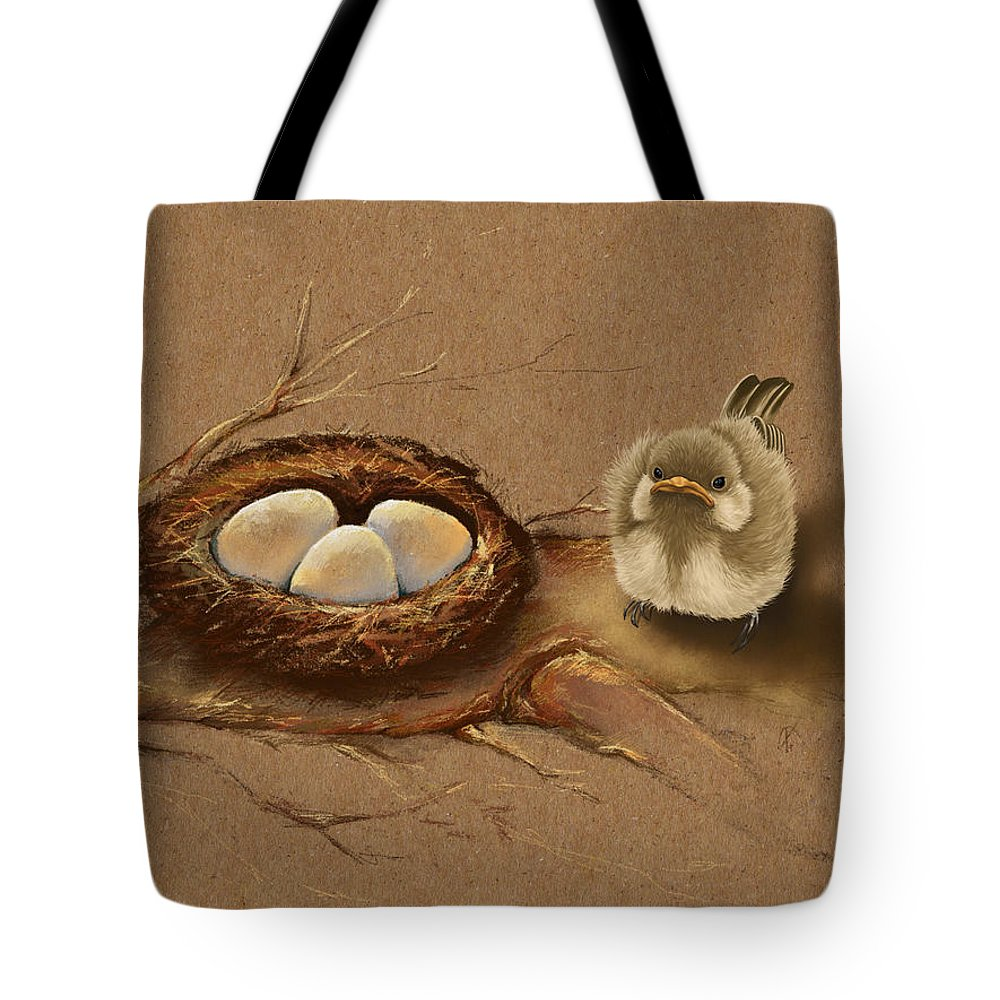 Bird Tote Bag featuring the painting This Is My Nest? by Veronica Minozzi