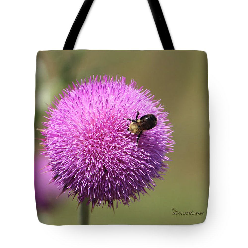 Flower Tote Bag featuring the photograph Thistle And A Bee by Ericamaxine Price