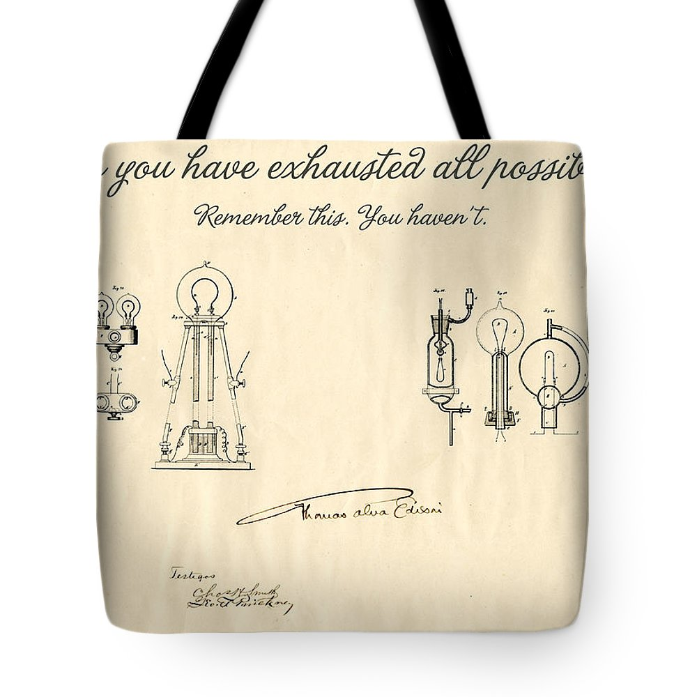 Thomas Edison Tote Bag featuring the mixed media Thomas Edison Quote by Gina Dsgn