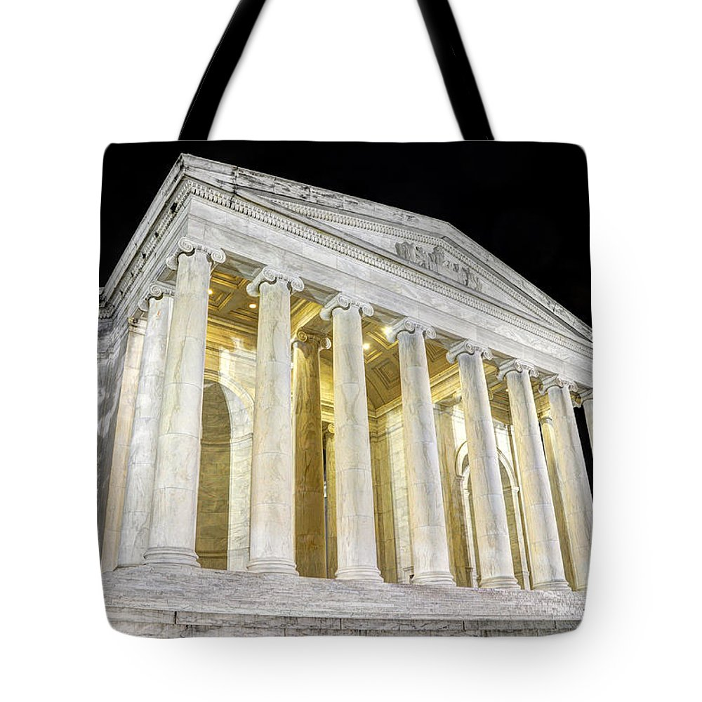 Jefferson Memorial Tote Bag featuring the photograph Thomas Jefferson Memorial At Night by Gary Whitton