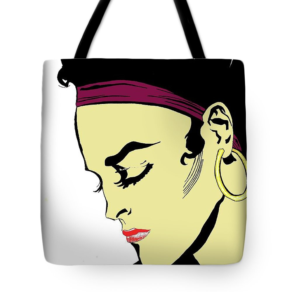 Woman Tote Bag featuring the digital art Thoughtful Woman 2 by Yngve Alexandersson
