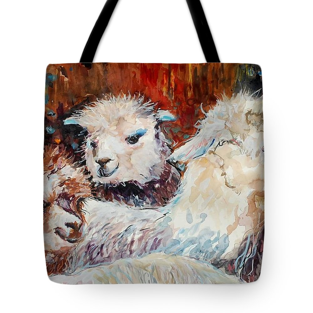 Alpaca Tote Bag featuring the painting Three Alpacas by Molly Poole