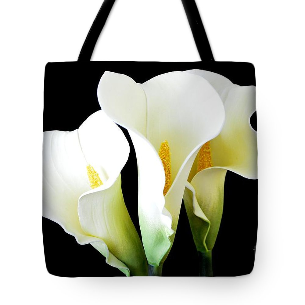 Calla Lilies Tote Bag featuring the photograph Three Calla Lilies On Black by Mary Deal