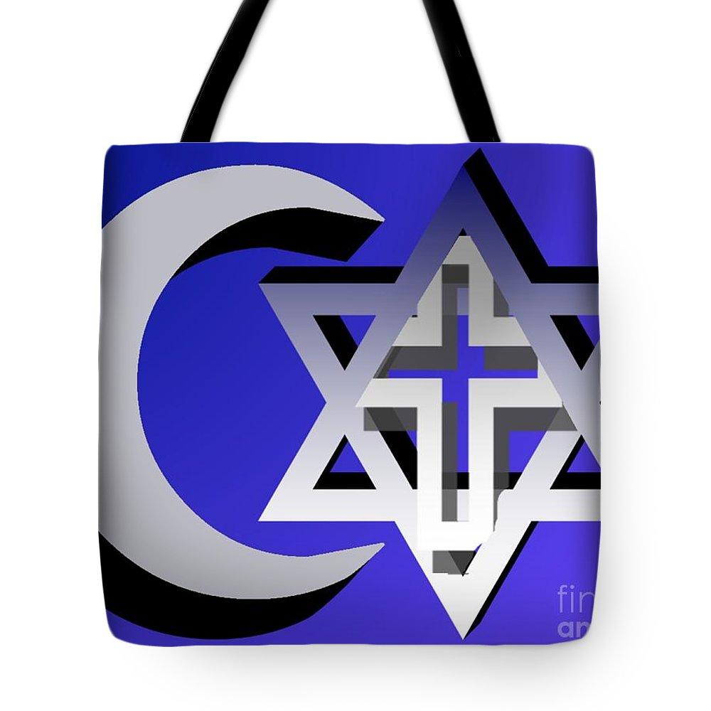 Interfaith Tote Bag featuring the digital art Three Faiths by Pharris Art