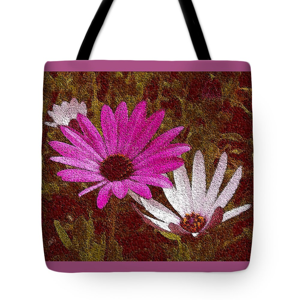 Three Flowers Tote Bag featuring the photograph Three Flowers On Maroon by Ben and Raisa Gertsberg