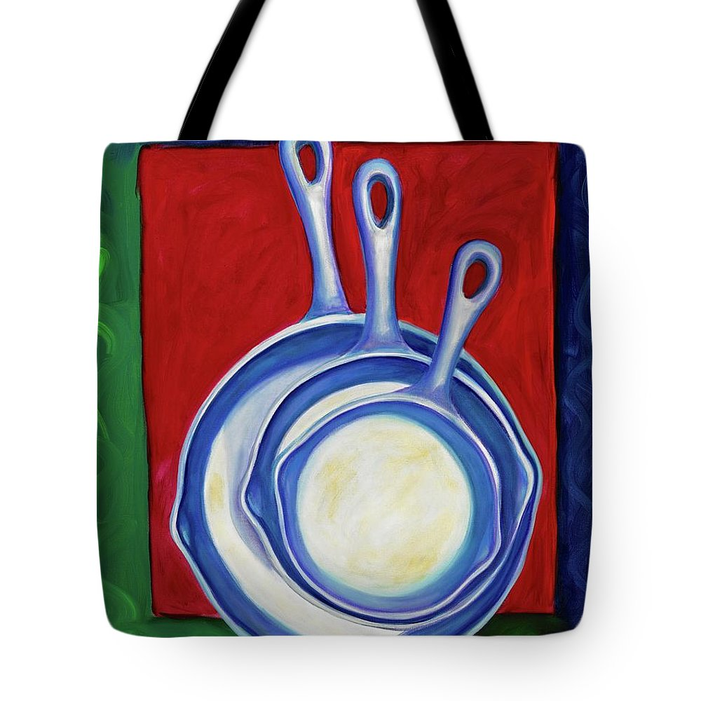 Cast Iron Pans Tote Bag featuring the painting Three Irons by Shannon Grissom