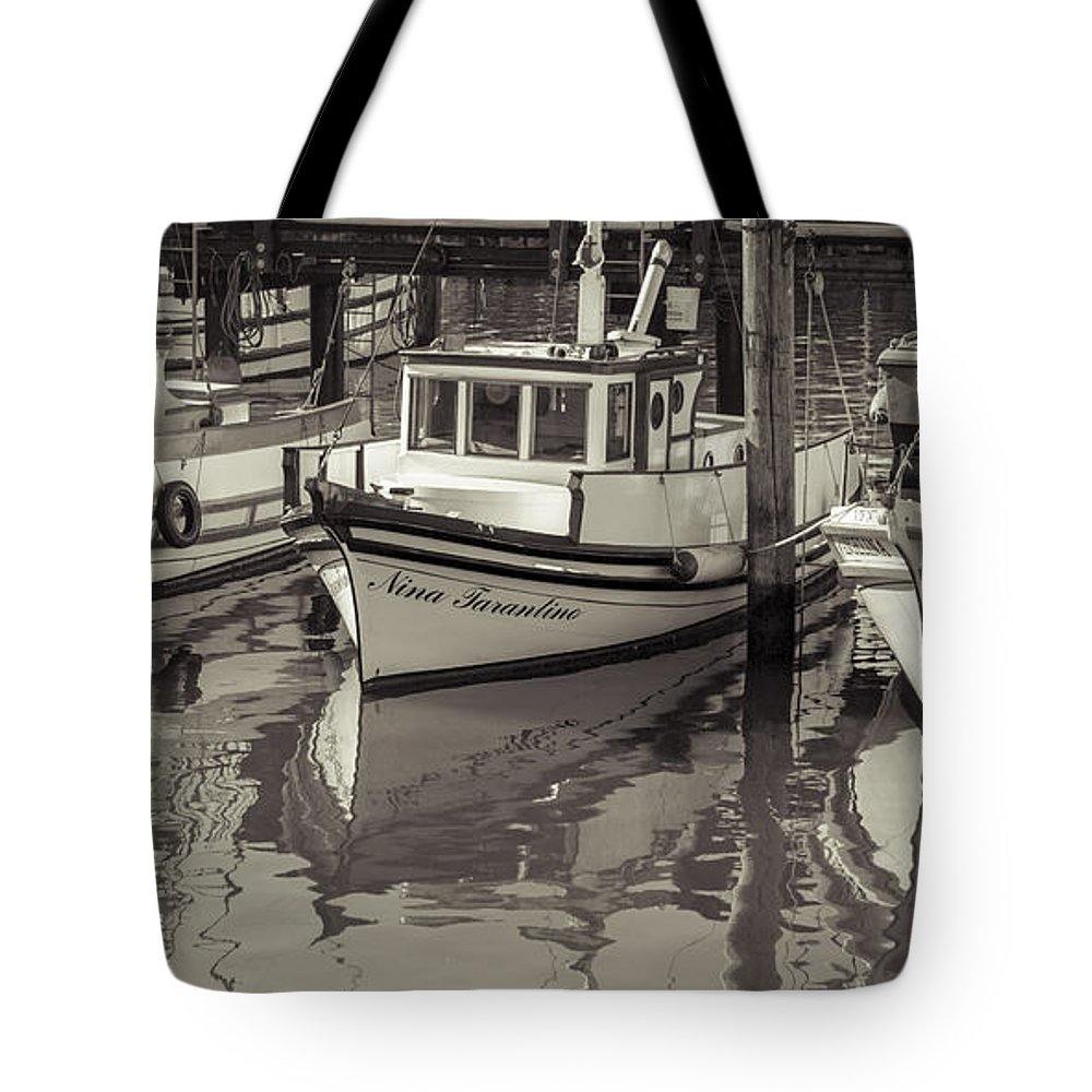 Fishing Boat Tote Bag featuring the photograph Three Little Boats Sepia by Scott Campbell