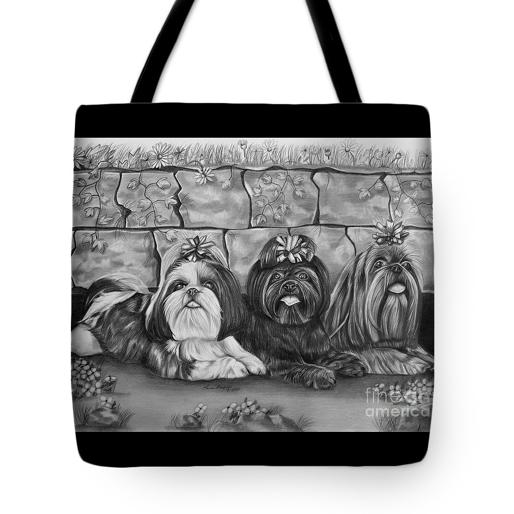 Shih Tzu Tote Bag featuring the drawing Three Little Shih Tzus by Lena Auxier