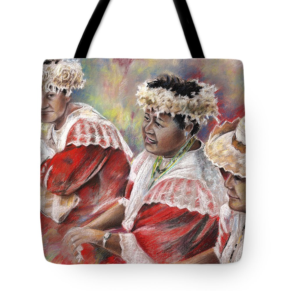 Travel Tote Bag featuring the painting Three Mamas From Tahiti by Miki De Goodaboom