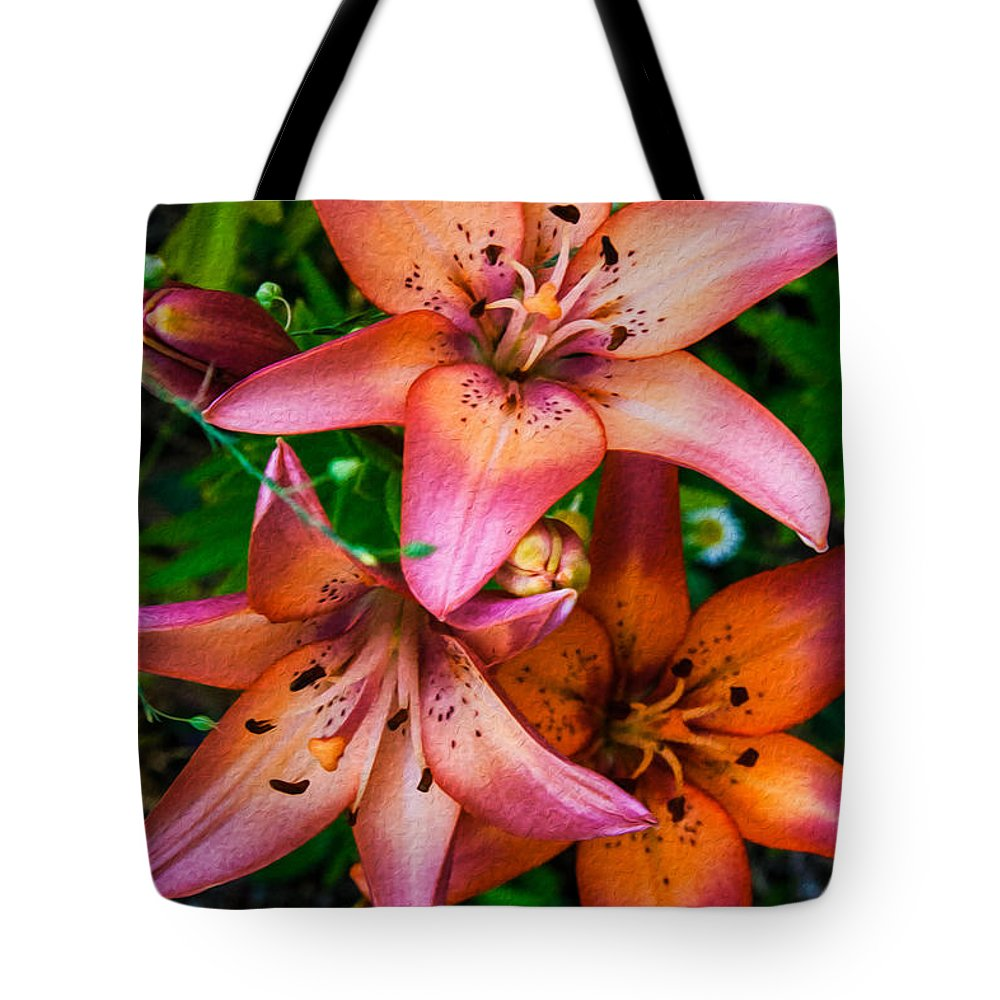 North Cascades Tote Bag featuring the painting Three Pink Lilies by Omaste Witkowski
