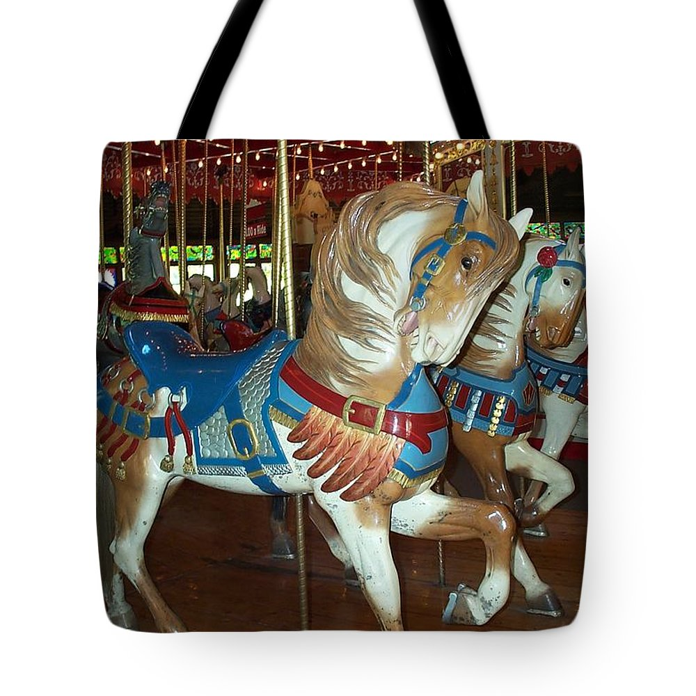 Carousel Tote Bag featuring the photograph Three Ponies In White And Brown - Ct by Barbara McDevitt