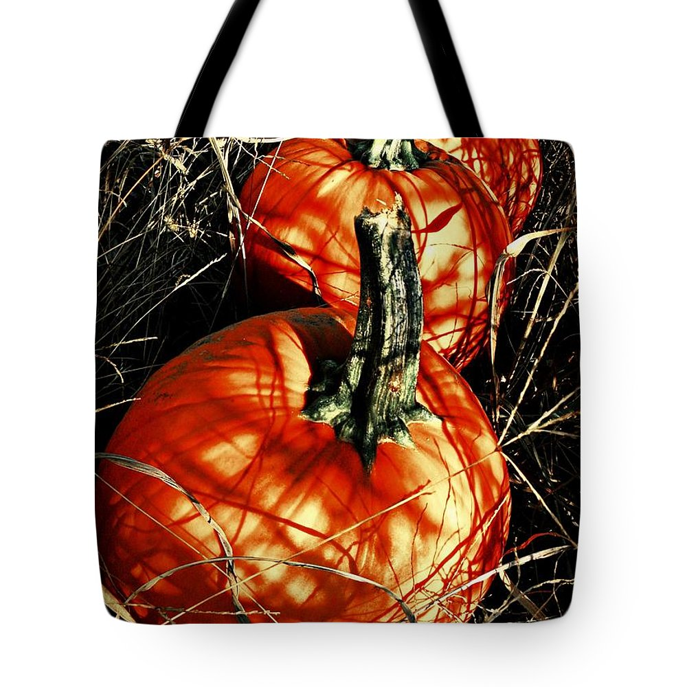 Halloween Tote Bag featuring the photograph Three Pumpkins by Chris Berry