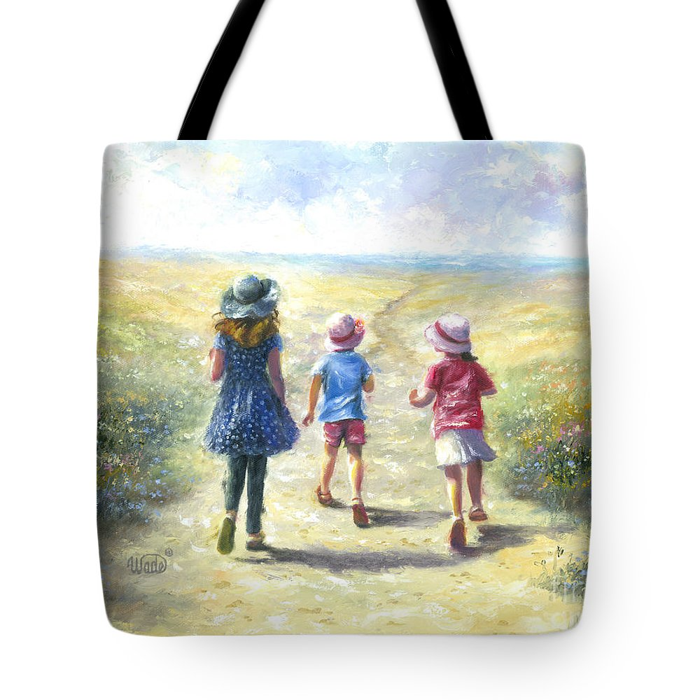 Three Sisters Tote Bag featuring the painting Three Sisters Beach Path by Vickie Wade