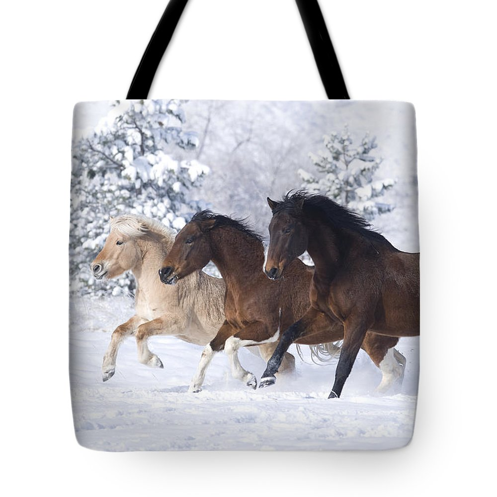 Horse Tote Bag featuring the photograph Three Snow Horses by Carol Walker