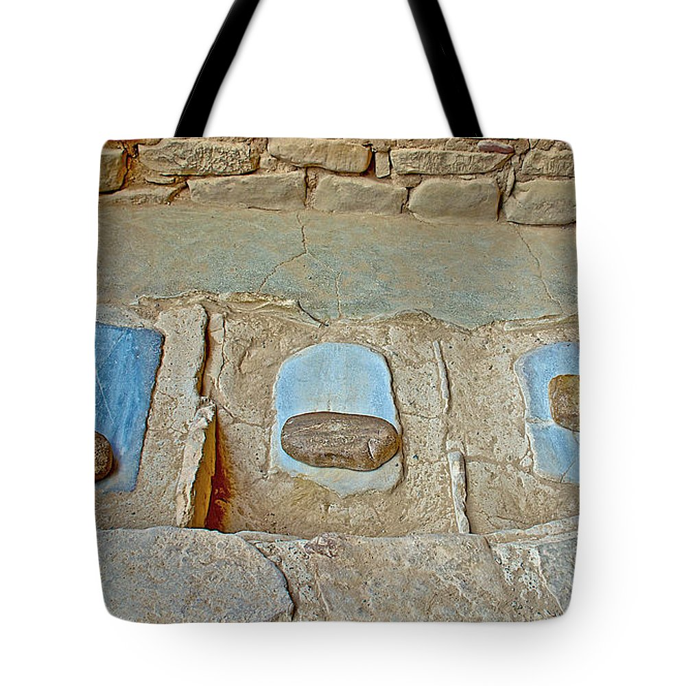 Three Stones For Grinding Corn In Spruce Tree House On Chapin Mesa In Mesa Verde National Park-colorado Spruce Tree House On Chapin Mesa In Mesa Verde National Park Tote Bag featuring the photograph Three Stones For Grinding Corn In Spruce Tree House In Mesa Verde National Park-colorado by Ruth Hager