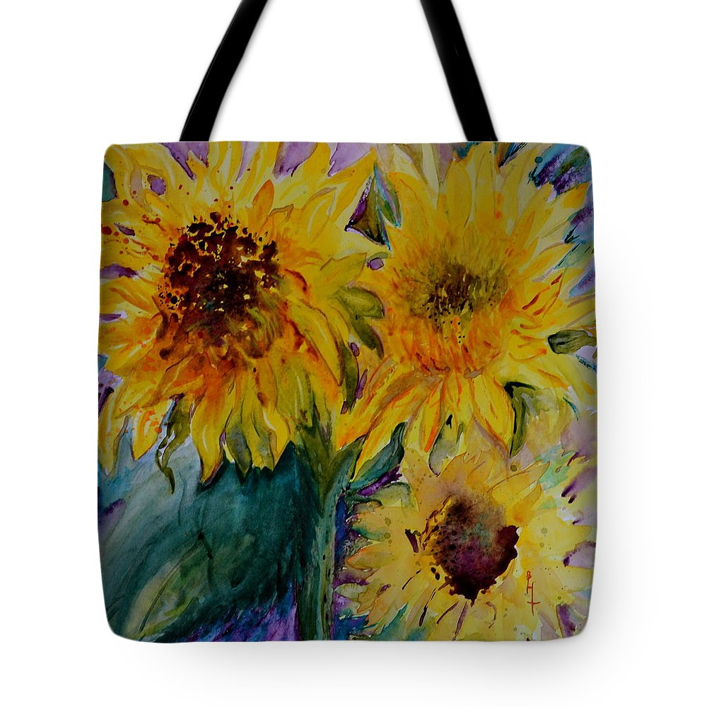 Sunflowers Tote Bag featuring the painting Three Sunflowers by Beverley Harper Tinsley