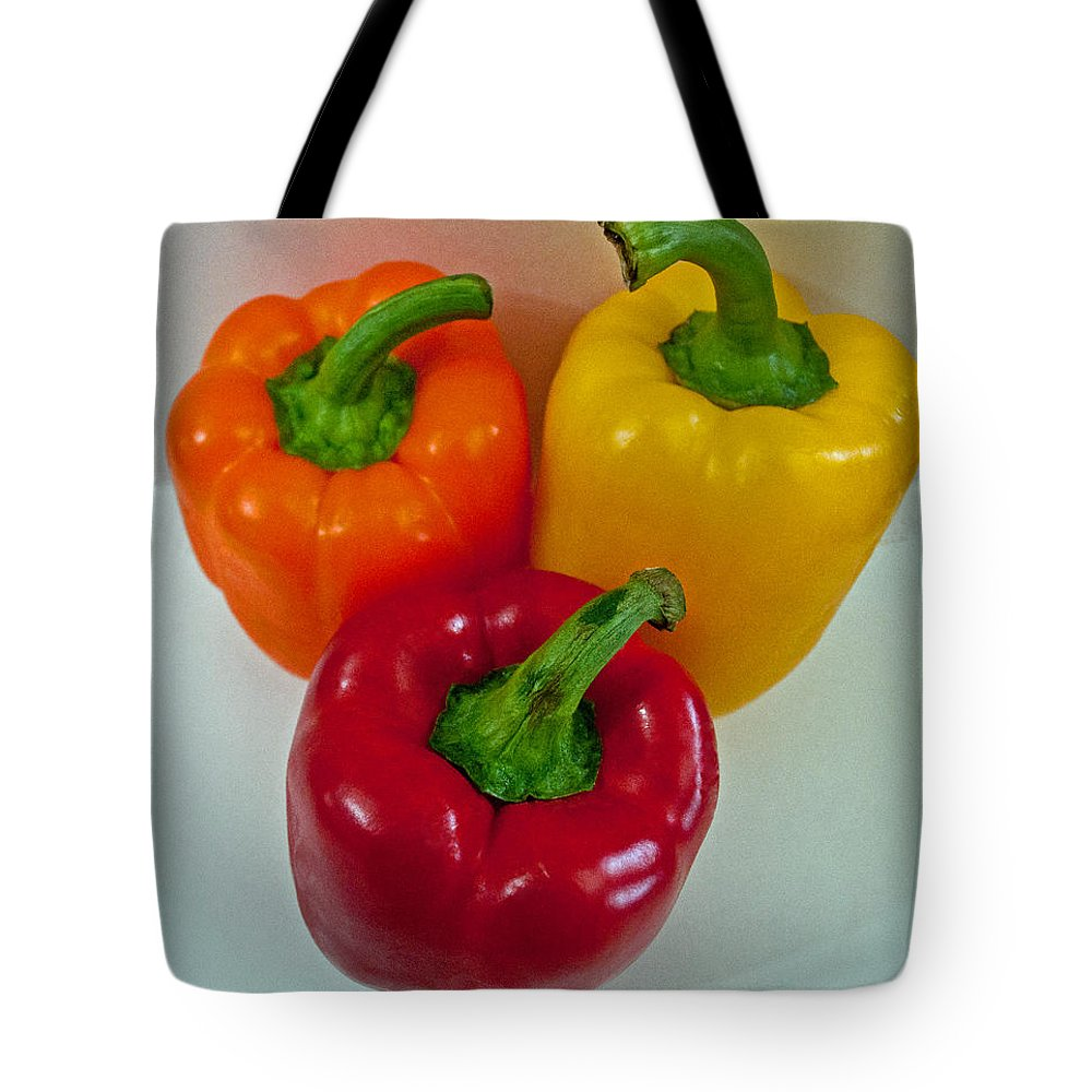 Orange Tote Bag featuring the photograph Three Sweet Peppers by Tikvah's Hope