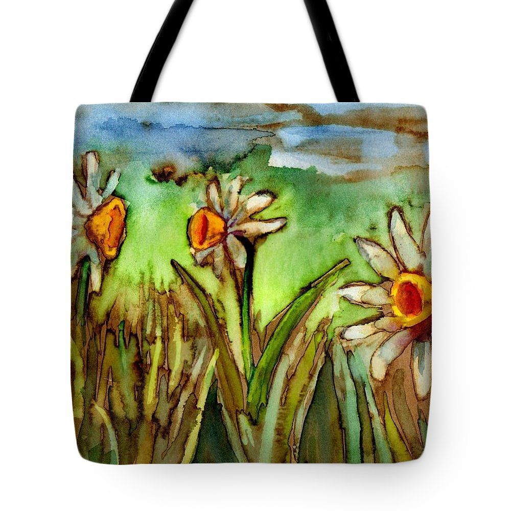 Flowers Tote Bag featuring the painting Three Trumpets by Diana Cardosi-Bussone