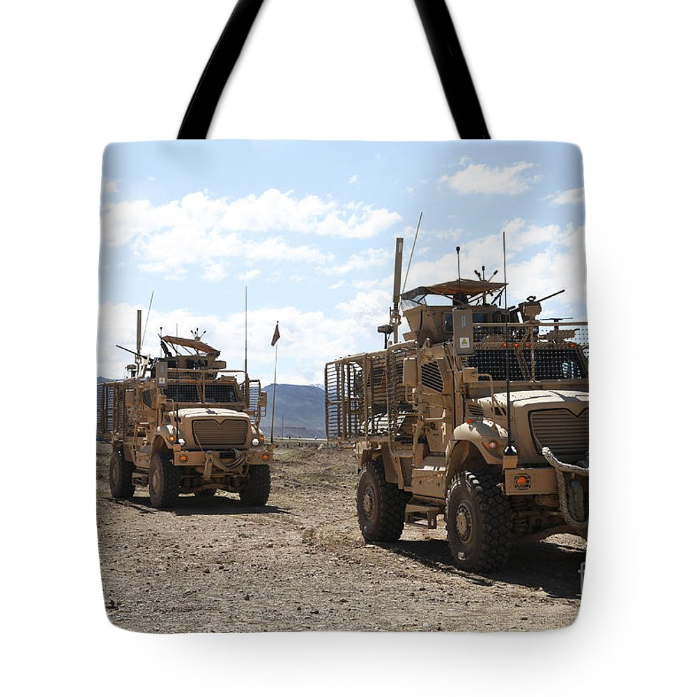 Afghanistan Tote Bag featuring the photograph Three U.s. Army Mine Resistant Ambush by Stocktrek Images